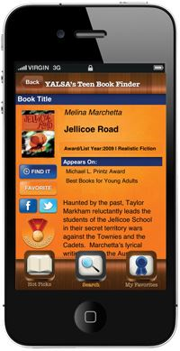 Smartphone with YALSA Teen Book Finder App